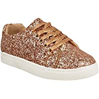 Fashion Thirsty Womens Flat Lace Up Glitter Sparkly Sneakers Trainers Plimsolls Shoes