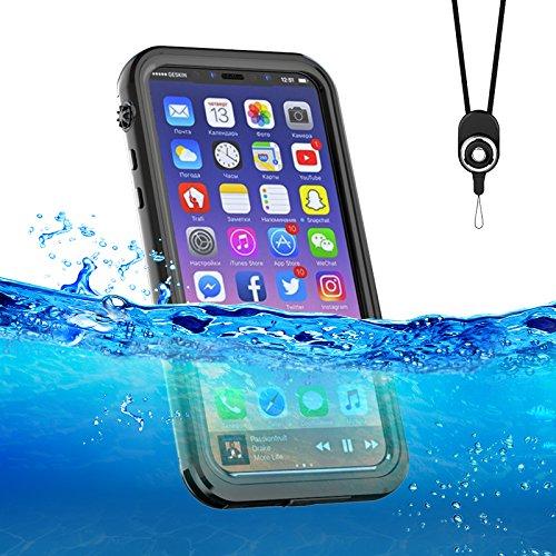 iPhonex ケース アイフオンxケース 完全防水 防塵 耐衝撃 ダイビング用iphonex ケース 海 防雪 アイフォン ダイビング お風呂 IP68 ネックストラップ 黒