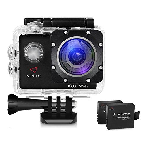 Victure アクションカメラ WIFI 1400万画素 1080P フルHD 170度広角レンズ 2インチ画面 2個1050mAh電池 30M防水 タイムラプス 手振れ補正 26個アクセサリー付き バイク/自転車/車などへ取り付け可能 HDMI出力