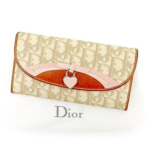 ディオール Dior 長財布 財布 ファスナー付き レディース リボン ハートカデナ トロッター 中古 T5498