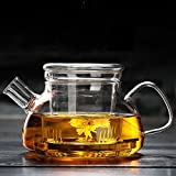 Cosy-Yc Glass Teapot with Infuser,Teapot with Strainer for Loose Tea,Safe On Stovetop, Nordic Pot with Glass Infuser and Glass Lid(Nordic Pot 600ML/21oz)