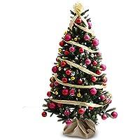 LOWYA (ロウヤ) クリスマスツリー ツリー イルミネーション LED ライト ボール ライティングボール リアルMIX葉 リボン オーナメント 足元ファブリックカバー付 180cm