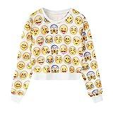 ファッション絵文字女性のカジュアルスクープネックスウェットシャツパーカーアウタートップス