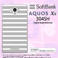 304SH カバー AQUOS Xx 304SH ケース アクオス Xx ボーダー グレー×白 nk-304sh-706