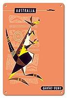 22cm x 30cmヴィンテージハワイアンティンサイン - オーストラリア - カンガルーとその赤ちゃん(ジョーイ) - オーストラリアのアボリジニ・アート - カンタス航空 - BOAC (英国海外航空) - ビンテージな航空会社のポスター によって作成された ハリー・ロジャーズ c.1960s