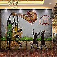 Lixiaoer カスタム3D写真の壁紙3Dステレオバスケットボール手作り壁画カスタム中庭体育館スポーツ用品店壁紙-250X175Cm