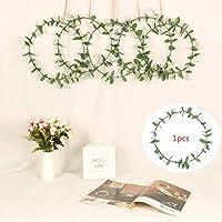 造花 お花の 冠 FidgetFidget 30センチシミュレートユーカリの葉の花輪をドアDeocr用の鉄のリングぶら下げペンダントで