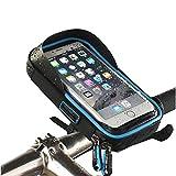 自転車 スマホホルダー 防水・防塵・強力固定・360度回転可能 落下防止 TPUスクリーンタッチ操作 SONY/Sharp/iPhone(多機種対応)多機能 自転車・ オートバイ 用フロントバッグ(青)