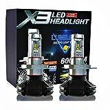 LEDヘッドライト H4 車検 対応 オールインワンタイプ ファンレス フィリップスPHILIPS Lumileds ZES2代目LEDチップ 10連 50W 6500K 6000lm 2個セット 3000K 8000K変色フィルム付き led h4 x3 [並行輸入品]