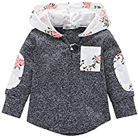 KONIGHT Kids Outfit Toddler Baby Boys Girls Floral Plaid Pocket Hoodie Jackets Coat Clothes Fall Winter Tops Clothing