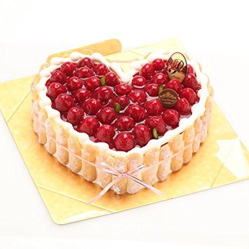 洋菓子店カサミンゴー 最高級洋菓子 特注ハート型シュス木苺レアチーズケーキ (14cm)