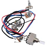 Prewired Wiring Harness Kit for LP Electric Guitar, 2T2V 500K Pots 3-position Toggle Switch with Jack for Dual Humbucker Gibs