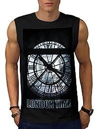 Wellcoda ロンドン 時間 クロック ファッション 男性用 S-5XL 袖なしTシャツ