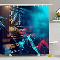シャワーカーテンセットフック付き66x72 Javaシンボルモニタープログラミングコード要約プログラムテクノロジースクリプトソフトウェアサイエンスコーディング防水ポリエステルファブリックバスルームの装飾 200X180 CM