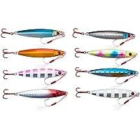 【オルルド釣具】 メタルジグD 8色セット (4サイズ:30g、40g、60g、80g) アシストフック付 &魚に見えにくい赤フック採用 オールシーズン対応 シーバス・ヒラメ・マゴチ・タチウオ・サゴシ・ハマチなどに qb100137