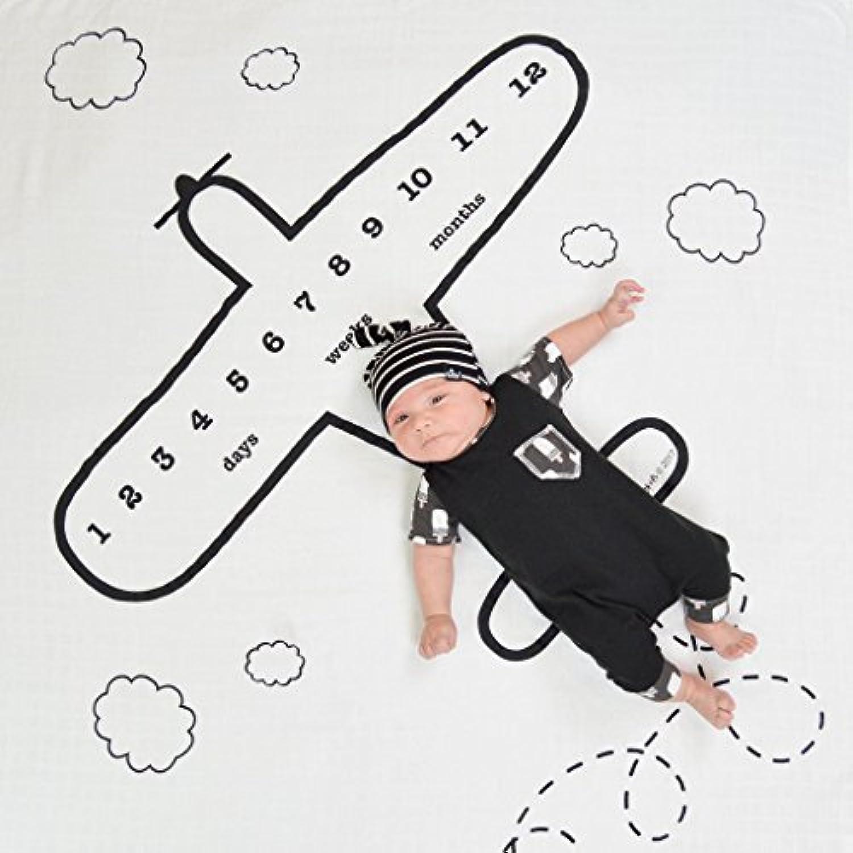 ベビー毛布 写真撮影 ベビーシーツ 新生児 小道具 柔らかい 敷物 コットン 百日記念 背景 敷物 出産祝い (飛行機)