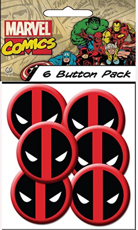 C & D Visionary Marvel Extreme Classic Deadpool Spiderman Head Shot 3.2cm Button (6-Piece)