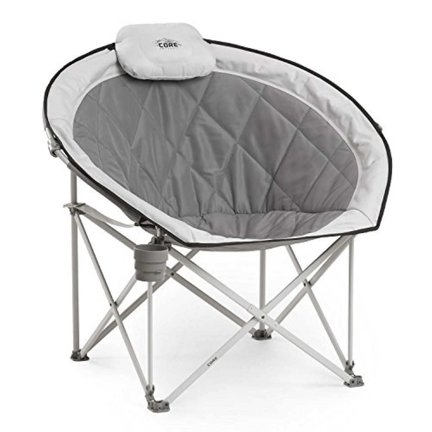薄暗い飲料弾性CORE 40025 Equipment Folding Oversized Padded Moon Round Saucer Chair with Carry Bag, Gray [並行輸入品]