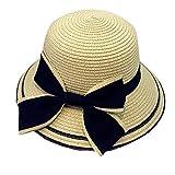 麦わら帽子 親子 つば広帽 子供サンバイザー レディースハット ちょう結び 赤ちゃんキャップ キッズ ベビー用ハット 女性 女の子 日よけ帽子 日焼け止め 紫外線対策 UVカット 軽量 通気性良い お出かけ用 ビーチ 旅行 アウトドアキャップ