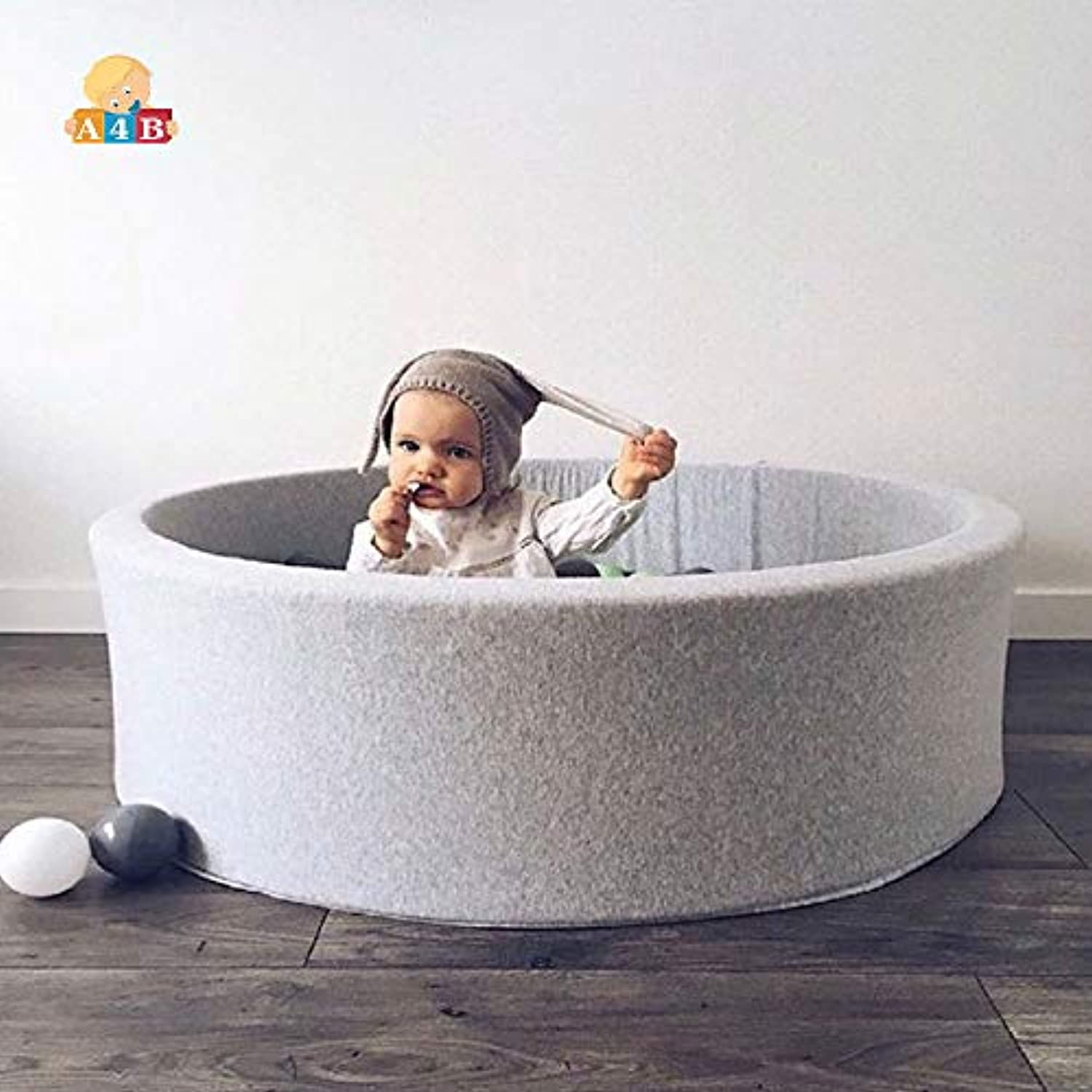 Grey Round Play Ball Pool Fencing Manege For Newborns/Baby Playpen For Children