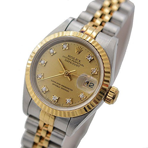 ROLEX(ロレックス) デイトジャスト レディース腕時計(中古) 10Pダイヤ シルバー/イエローゴールド シャンパンゴールド文字盤 69173G 自動巻き デイト機能