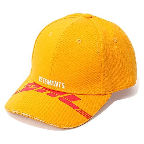 VETEMENTS ヴェトモン Dhl Cap コラボ WSS18DHL13 ロゴ刺繍 ベースボールキャップ 帽子 カラーYellow Yellow/オレンジイエロー [並行輸入品]