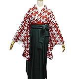 卒業式袴セット 女性レディース二尺袖着物無地袴セット 4サイズ5色/S(87cm) 緑