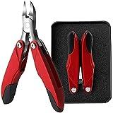 高齢者のための太い釘のためのつま先ネイルクリッパー、折りたたみOlecranon足の爪切りツール隠しツールセット,Red