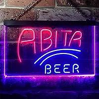 Abita Beer Bar Club LED看板 ネオンサイン バーライト 電飾 ビールバー 広告用標識 ブルー+レッド W40cm x H30cm