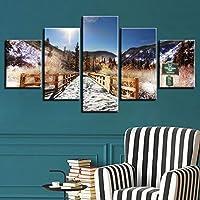 Xueshao Hd壁絵画ポスターの装飾アート5枚山と橋サンシャイン自然の風景キャンバス写真モジュラーフレーム-30X40Cmx2 30X60Cmx2 30X80Cmx1