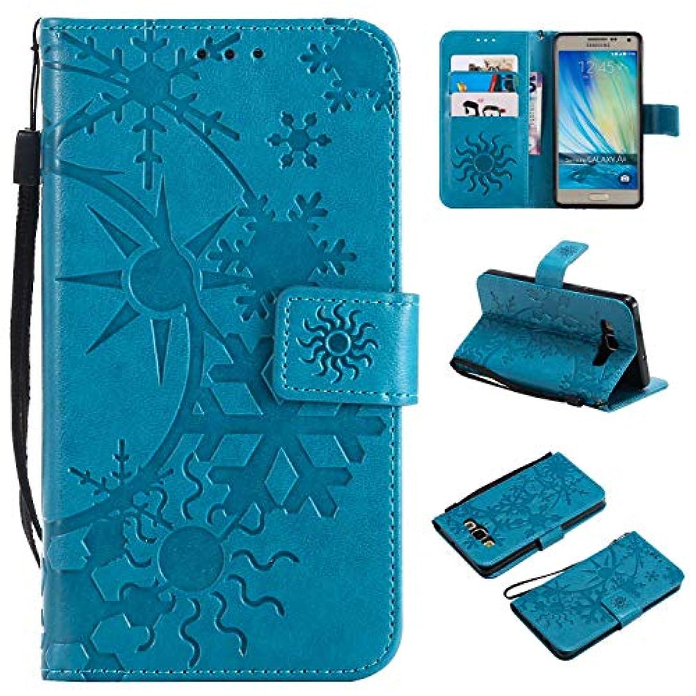 キリスト墓地ディンカルビルGalaxy A5 ケース CUSKING 手帳型 ケース ストラップ付き かわいい 財布 カバー カードポケット付き Samsung ギャラクシー A5 マジックアレイ ケース - ブルー