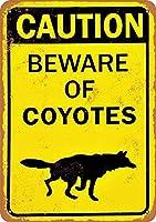 Shimaier 壁の装飾 メタルサイン Bewa of Coyotes ウォールアート バー カフェ 縦20×横30cm ヴィンテージ風 メタルプレート ブリキ 看板