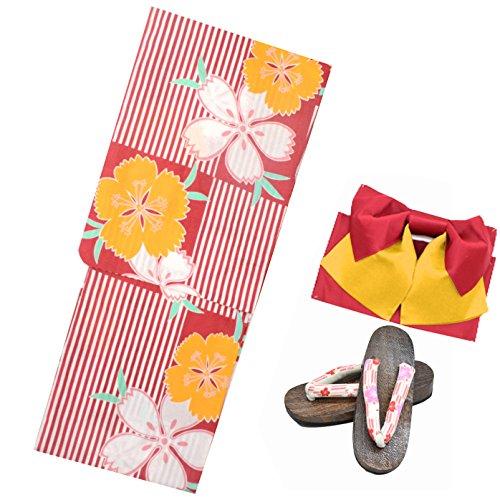 浴衣 レディース セット 福袋 3点セット 女性 浴衣 帯 下駄 柄が選べる19柄 大人浴衣 (10赤のストライプに桜)