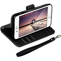 EReach iPhoneX  ケース高級PUレザー 両面マグネット式磁気吸着 アイフォンカバー 手帳型 カード収納 横開き スタンド機能 衝撃防止 全面保護 ストラップ付き (iphone X, ブラック)