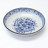 ポルトガル製 陶器 パスタ皿 21cm アズレージョ ブルー 花柄 白地 手描き ボウル 青 pfa-7w
