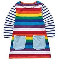 Sooxiwood Girls Dress Striped Rainbow Pocket