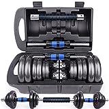 Best ダンベルセット - ダンベル 鉄アレイ アジャスタブル 10kg 20kg ダンベル セット コネクションチューブ(延長用シャフト)があるとバーベルとなる Review