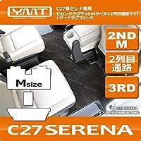 YMT 新型セレナ C27 2NDM+2列目通路+3RD大マット(分割タイプ) ループチェック青黒 C27-2ND-M-3RD-2-CHBL