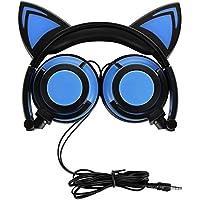 猫のヘッドフォン、充電式のかわいい猫のイヤホン、LEDが点滅して、耳の上で折りたたむことができるようにするコスプレ、PC、ノートパソコン、iPhone、iPod、MP3、MP4、およびAndroid Phone向けの素晴らしいヘッドセット (ブルー)
