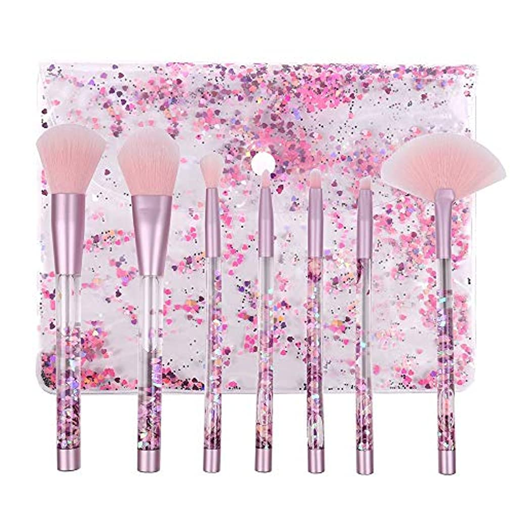 禁止冒険者スピーカーMakeup brushes 化粧ブラシセット7ピースクリスタルピンク液体の光沢のある流砂のハンドル化粧ブラシナイロンブラシ suits (Color : Purple glitter handle and pink hair)