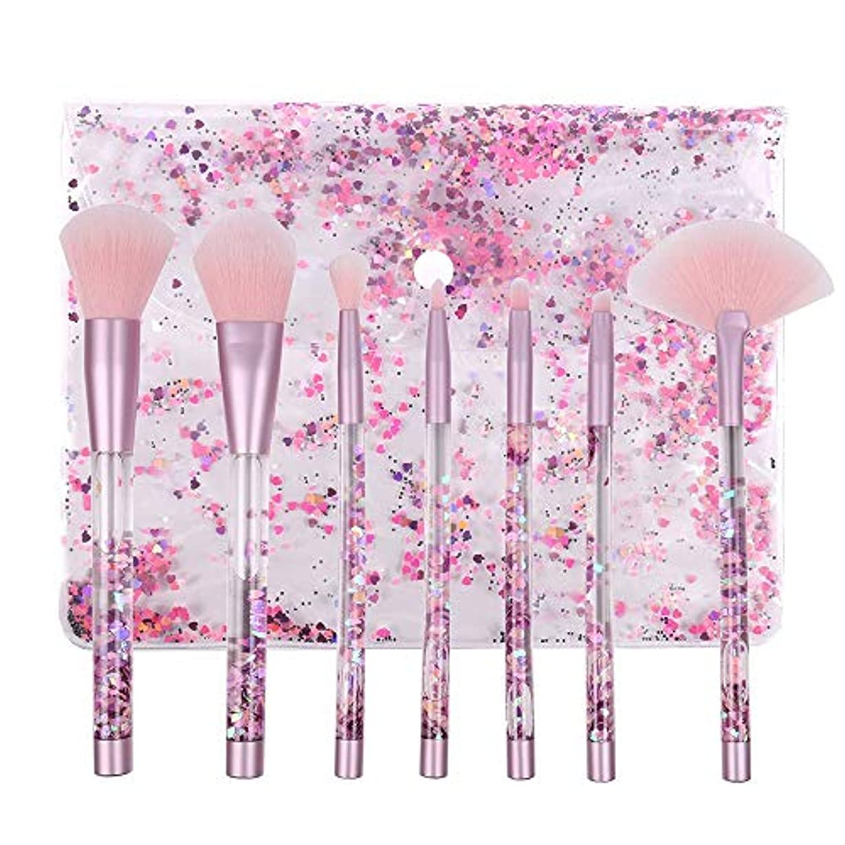細菌結核テンポMakeup brushes 化粧ブラシセット7ピースクリスタルピンク液体の光沢のある流砂のハンドル化粧ブラシナイロンブラシ suits (Color : Purple glitter handle and pink hair)
