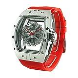 ビッグ レクタングル スケルトン クロス<シルバーベゼル/クリアカラースワロ/レッドベルト> 腕時計 グルグル時計 ぐるぐる時計
