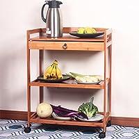 WENZHE キッチン 収納 りキッチンラック 収納棚 ラックワゴン ダイニングカー トロリー 野菜 ストレージ 引き出しタイプ リムーバブル プーリーでは、 竹、 3フロア 2色、 59×33×80cm (色 : Primary colors)