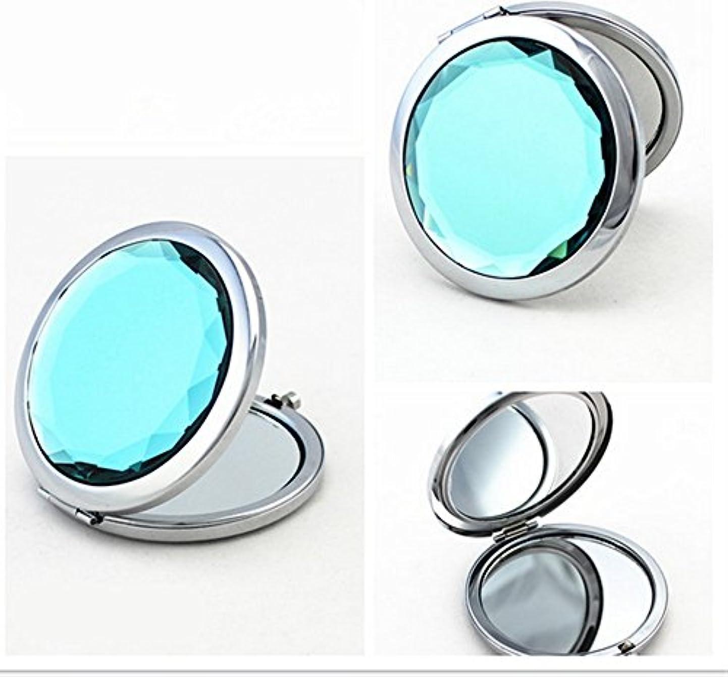 やりがいのある邪魔する劇作家SHINA 宝石飾りのコンパクトミラー クリスタル調化粧鏡拡大鏡付き 丸型の折りたたみ鏡 化粧箱入りミラー 手鏡 おしゃれの小物 (mirror-1-A)
