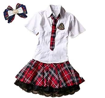 (fesley) アイドル なりきり AKB 風 コスプレ 衣装 可愛い 小物 付 コスチューム (XXL)