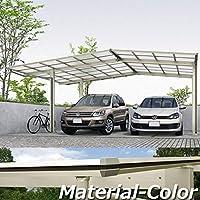 YKKAP エフルージュ プラス エフルージュグラン合掌セット ハイロング柱(H28) M57-0930・30L ポリカーボネート屋根 本体:プラチナステン JCS-X 『アルミカーポート 2台用』 側枠中帯:木調カラー ハニーチェリー(W7)