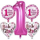 Prettyia 5個/セット かわいい アルミ箔 風船 セット 赤ちゃん 1歳 誕生日パーティー デコレーション 全2色 - ガールピンク
