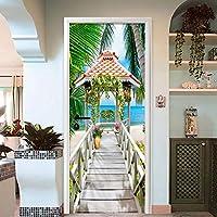 Xbwy 現代の海辺風景ドアステッカー3Dステレオウッドブリッジ写真壁壁画寝室リビングルームビニール壁紙3 D家の装飾-120X100Cm