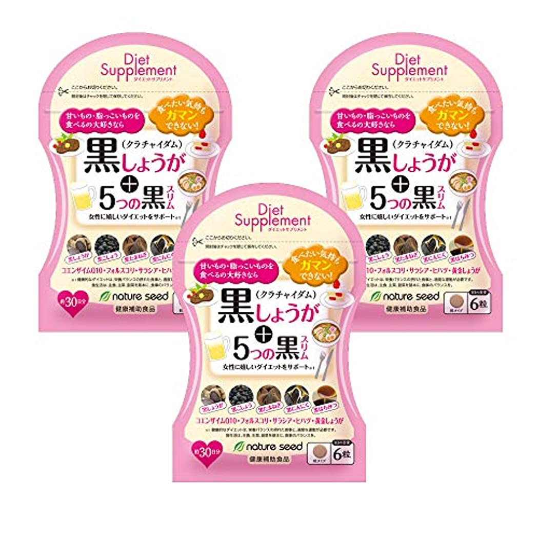 怖いに負ける甘美なダイエットサプリ 燃焼系 厳選した黒の成分 黒しょうが+5つの黒スリム 3袋(約90日分)