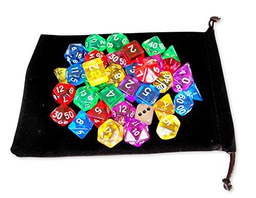 ダイスTRPG おもちゃ DICE ボードゲーム カードゲーム 多面体 クリア サイコロ ダイスセット [入門 セット37個] 5色(赤 青 黄 緑 紫)×7種 +小袋(蓄光ダイス+透明ダイス/2個付)